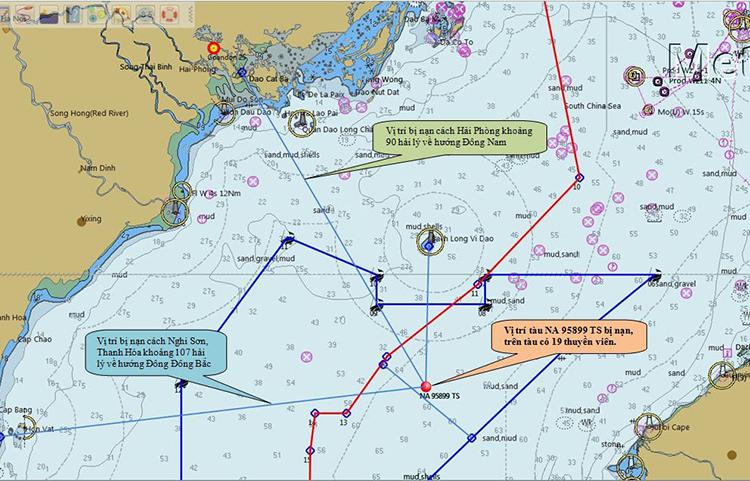 Sơ đồ vị trí tàu cá Nghệ An gặp nạn. Ảnh: Trung tâm Phối hợp tìm kiếm cứu nạn Hàng hải Việt Nam
