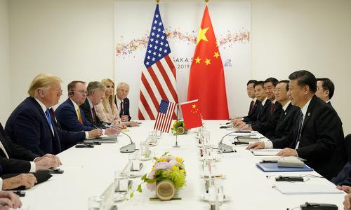 Phái đoàn Mỹ và Trung Quốc gặp nhau bên lề hội nghị G20. Ảnh: Reuters.