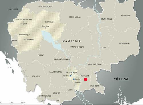 Vị trí tỉnh Prev Veng (chấm đỏ) của Campuchia. Đồ họa: Picssr.