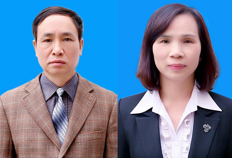 Cựu Phó giám đốc Sở Phạm VăKhuông (trái) và Triệu Thị Chính.