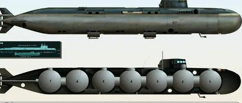 Thiết kế nhiều khoang hình cầu tách biệt trong tàu ngầm nghiên cứu Losharik của Nga. Ảnh:H.I. Sutton.