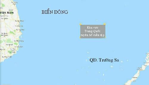 Khu vực Trung Quốc diễn tập ở Biển Đông kéo dài đến ngày 3/7. Ảnh: Google Maps.