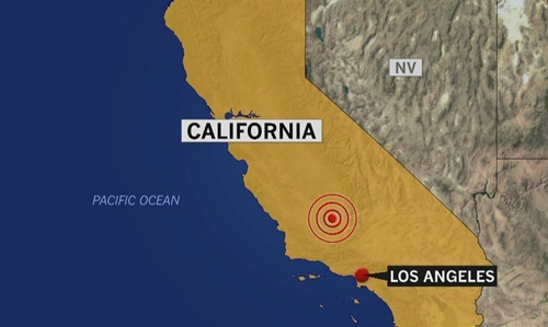 Vị trí xảy ra động đất (vòng tròn đỏ) ở Califonria sáng 4/7. Ảnh: NBC.