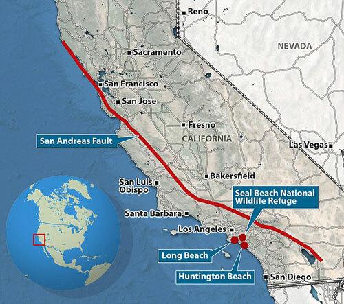 Đứt gãy San Andreas (đường màu đỏ) ở bang California, Mỹ. Đồ họa: MailOnline.