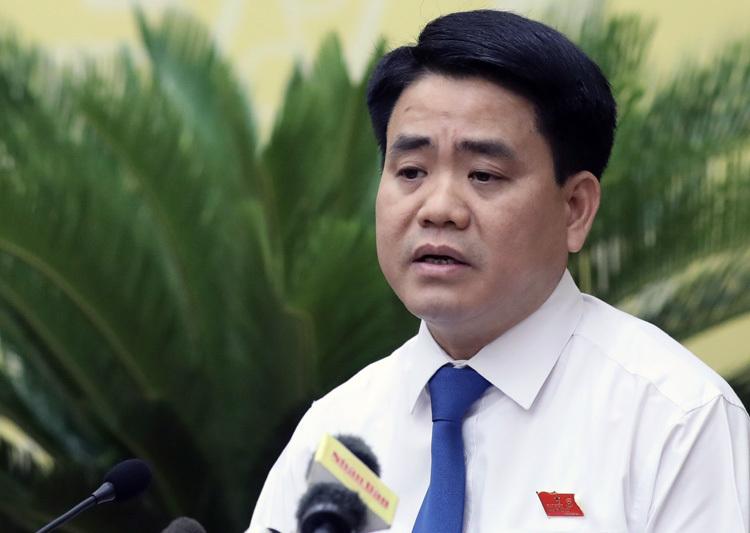 Ông Nguyễn Đức Chung phát biểu tại phiên chất vấn của HĐND TP Hà Nội chiều 9/7. Ảnh: Ngọc Thành.