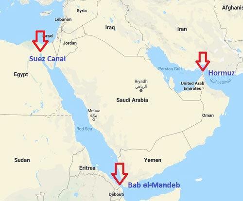 Vị trí eo biển Hormuz và Bab el-Mandeb. Đồ họa: CNS.