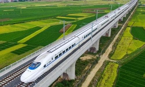 Đường sắt cao tốc nối Thượng Hải với Quý Dương. Ảnh: Xinhua.