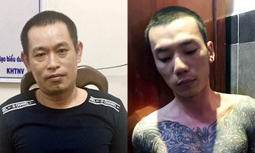 Nguyễn Viết Huy (phải) và Nguyễn Văn Nưng sau khi bị bắt trở lại. Ảnh: Công an cung cấp.