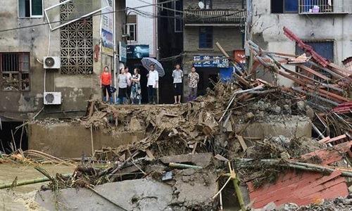 Khu vực bị ảnh hưởng bởi lũ lụt tại tỉnh Phúc Kiến, Trung Quốc. Ảnh: Reuters.