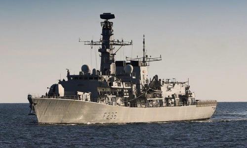 Tàu hộ vệ HMS Montrose di chuyển tại Vùng Vịnh hồi đầu năm nay. Ảnh: Royal Navy.