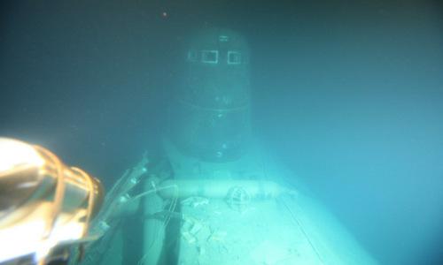 Xác tàu K-278 nằm dưới đáy biển. Ảnh: Zvezda.