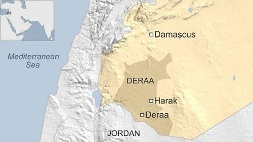 Vị trí tỉnh Daraa (Deraa) của Syria. Đồ họa: BBC.