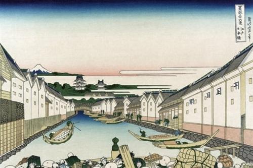 Thuyền bè đi lại trên các kênh đào ở Edo năm 1830. Đồ họa: Buyenlarge.
