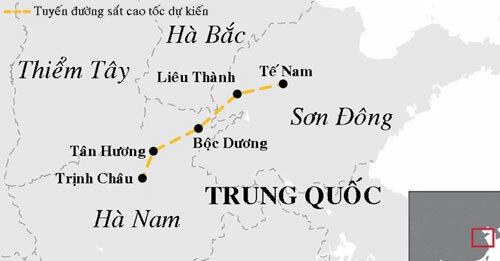 Tuyến đường sắt cao tốc dự kiến kết nối Trịnh Châu và Tế Nam. Đồ họa: SCMP.
