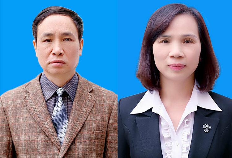 Hai cựu phó giám đốc sở Phạm Văn Khuông (trái) và Triệu Thị Chính.