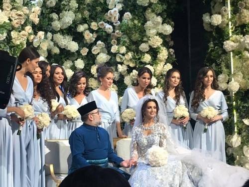 Quốc vương Malaysia kết hôn với người đẹp Moskva trong đám cưới cuối tuần trước ở Nga. Ảnh: Twitter.
