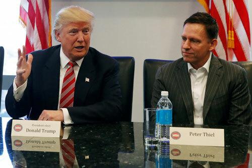 Thiel (phải) gặp tổng thống đắc cử Trump cuối năm 2016. Ảnh: Reuters.