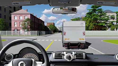 Người lái có được vượt xe tải để đi thẳng trong trường hợp này?
