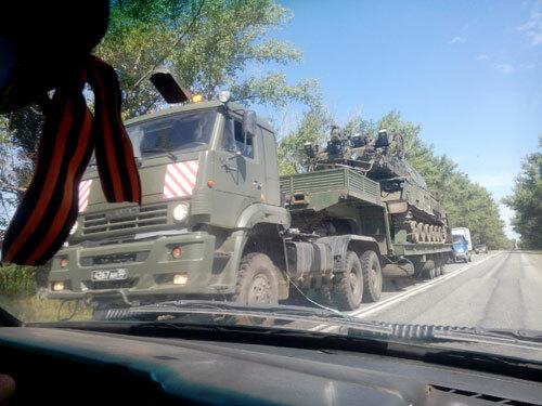 Chiếc xe tải bị nghi ngờ chở tổ hợp tên lửa BUK vào miền đông Ukraine năm 2014. Ảnh: Bellingcat.