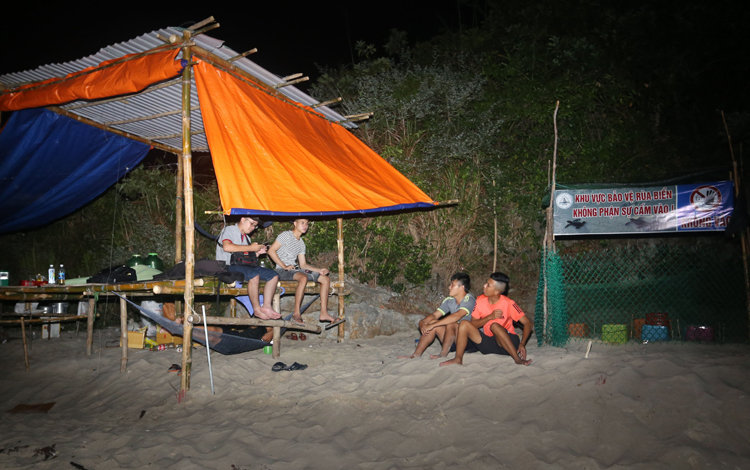 Khu vực ấp nở rùa ở bãi Bấc, Cù Lao Chàm được canh giữ nghiêm ngặt ngày đêm. Ảnh: Đắc Thành.