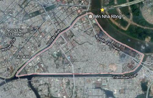Quận 4 có diện tích nhỏ nhất TP HCM. Ảnh: Google maps