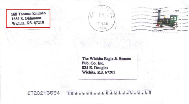BTK lấy tên trên thư là Bill Thomas Killman (khoanh đỏ).