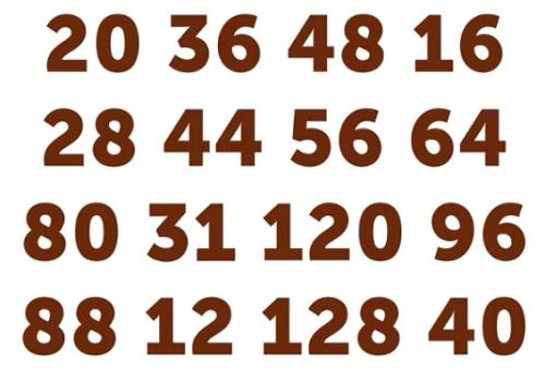 Bốn câu đố tìm chữ hoặc số khác biệt trong hình