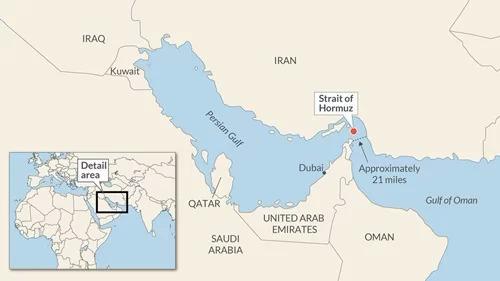 Vị trí eo biển Hormuz. Đồ họa: Google Maps.