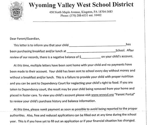 Lá thư đe dọa của nhà trường.