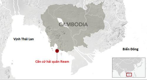 Vị trí căn cứ Ream của Campuchia. Đồ họa: WSJ.