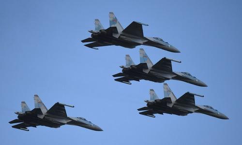Tiêm kích Su-35S Trung Quốc diễn tập cuối năm 2018. Ảnh: PLAAF.
