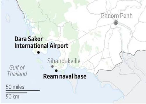 Vị trí căn cứ hải quân Ream và sân bay quốc tế Dara Sakor. Đồ họa: WSJ.