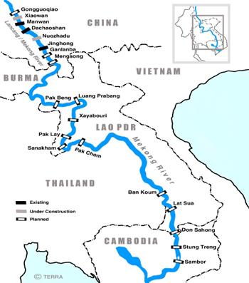 Vị trí 8 con đập Trung Quốc xây dựng trên sông Mekong. Ảnh: International Rivers.