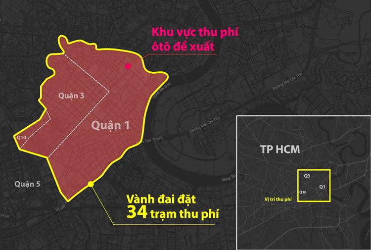 Khu vực thu phí đượcđề xuất (bên trong đường màu đỏ). Đồ họa: Hoàng Khánh.