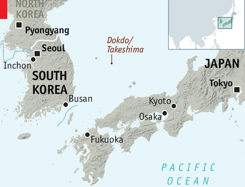 Vị trí quần đảo Dokdo/Takesshima. Đồ họa: Economist,