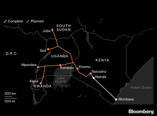 Kế hoạch xây dựng ban đầu của tuyến đường sắt nối Kenya và Uganda với màu trắng là phần đã hoàn thành và màu vàng là phần chưa hoàn thành. Đồ họa: Bloomberg.