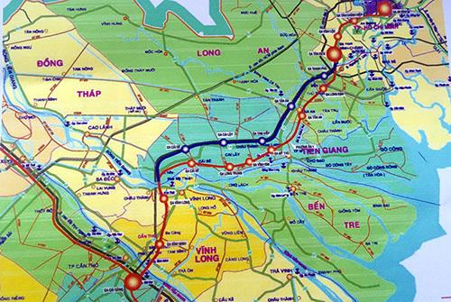 Sơ đồ hướng tuyến đường sắt cao tốc TP HCM - Cần Thơ (màu đỏ) dài trên 173 km. Ảnh: Cửu Long