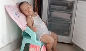 Bé trai mở tủ lạnh ngồi ngủ ngon lành