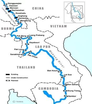 Vị trí các con đập đã và có thể được xây trên sông Mekong. Ảnh: International Rivers.