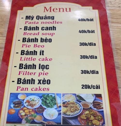 Thực đơn quán được dịch từ Việt sang Anh nhờ chị Google.