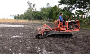 Xe xới đất hoạt động bằng dây xích của thợ cơ khí miền Tây