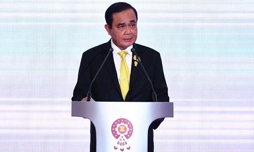 Thủ tướng Thái Lan Prayut Chan-O-Cha tại lễ khai mạc Hội nghị Ngoại trưởng ASEAN ở Bangkok ngày 31/7. Ảnh: AFP.