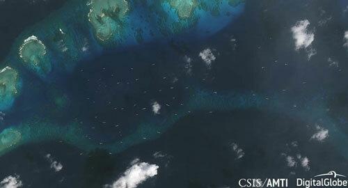 Ảnh vệ tinh tàu Trung Quốc xuất hiện gần đảo Thị Tứ được AMTI công bố hồi tháng 2. Ảnh: CSIS/AMTI.