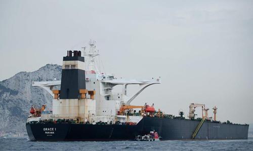 Tàu dầu Grace 1 của Iran ở ngoài khơi Gibraltar, vùng lãnh thổ hải ngoại của Anh hôm 6/7. Ảnh: AFP.