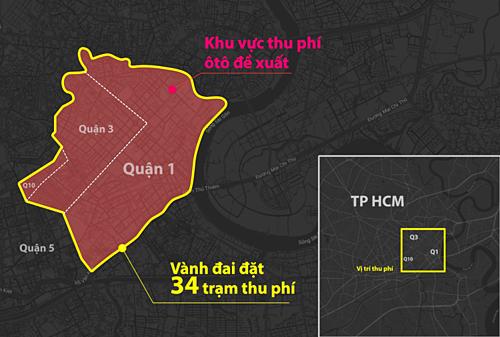 Khu vực thu phí được ITD đề xuất (bên trong đường màu đỏ). Đồ họa: Hoàng Khánh.