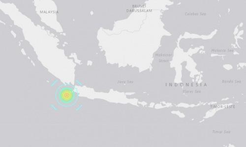 Vị trí tâm chấntrong trận động đất tối 2/8. Đồ họa: USGS.
