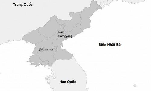 Vị trí tỉnh nam Hamgyong của Triều Tiên. Đồ họa: HRW.