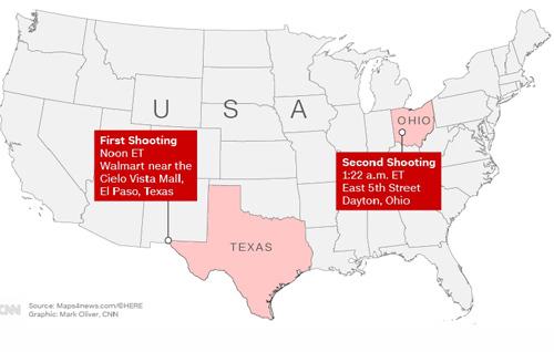 Địa điểm xảy ra hai vụ xả súng ở bang Texas và Ohio cuối tuần qua tại Mỹ. Đồ họa: CNN.