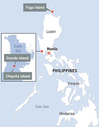 Vị trí các đảo Grande,Chiquita vàFuga
