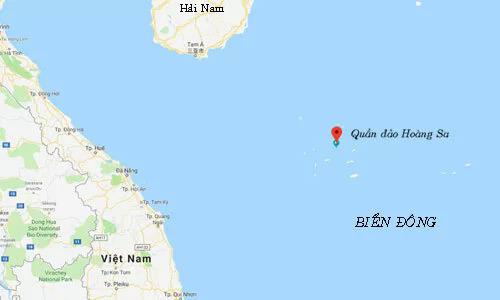 Khu vực Trung Quốc tập trậntrái phép (chấm đỏ) tại quần đảo Hoàng Sa của Việt Nam. Đồ họa:Google Maps.
